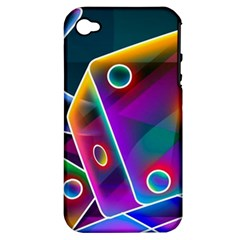 3d Cube Dice Neon Apple iPhone 4/4S Hardshell Case (PC+Silicone)