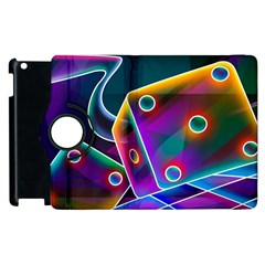 3d Cube Dice Neon Apple iPad 3/4 Flip 360 Case