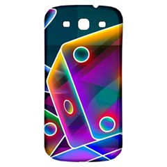 3d Cube Dice Neon Samsung Galaxy S3 S III Classic Hardshell Back Case