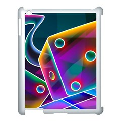 3d Cube Dice Neon Apple iPad 3/4 Case (White)