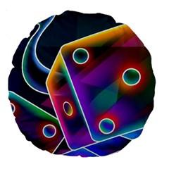 3d Cube Dice Neon Large 18  Premium Round Cushions