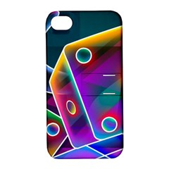3d Cube Dice Neon Apple iPhone 4/4S Hardshell Case with Stand
