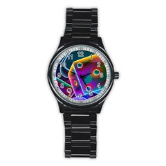3d Cube Dice Neon Stainless Steel Round Watch