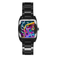 3d Cube Dice Neon Stainless Steel Barrel Watch