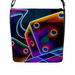 3d Cube Dice Neon Flap Messenger Bag (L)