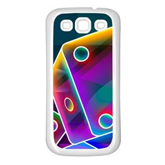 3d Cube Dice Neon Samsung Galaxy S3 Back Case (White)