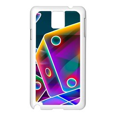 3d Cube Dice Neon Samsung Galaxy Note 3 N9005 Case (White)