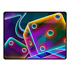 3d Cube Dice Neon Double Sided Fleece Blanket (Small)