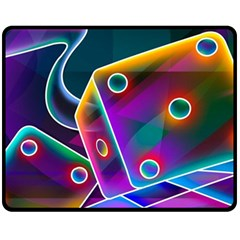 3d Cube Dice Neon Double Sided Fleece Blanket (Medium)