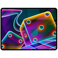 3d Cube Dice Neon Double Sided Fleece Blanket (Large)