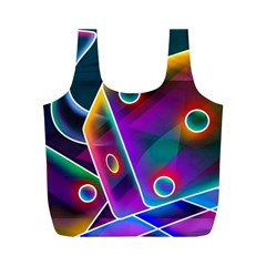 3d Cube Dice Neon Full Print Recycle Bags (M)