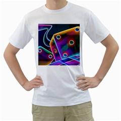3d Cube Dice Neon Men s T-Shirt (White)