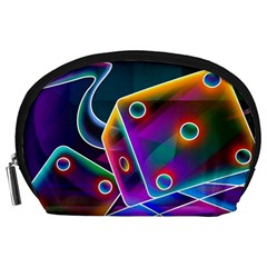 3d Cube Dice Neon Accessory Pouches (Large)