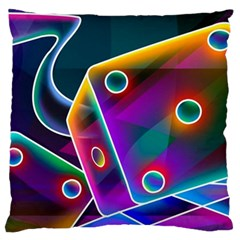 3d Cube Dice Neon Large Flano Cushion Case (Two Sides)