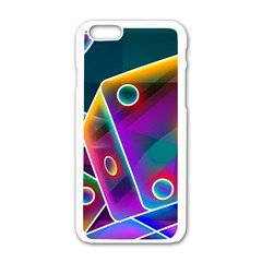 3d Cube Dice Neon Apple iPhone 6/6S White Enamel Case