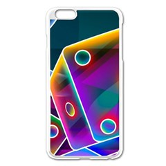 3d Cube Dice Neon Apple iPhone 6 Plus/6S Plus Enamel White Case