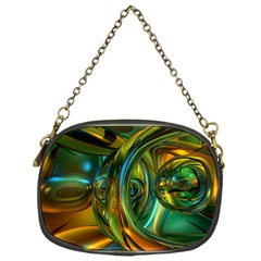 3d Transparent Glass Shapes Mixture Of Dark Yellow Green Glass Mixture Artistic Glassworks Chain Purses (one Side)