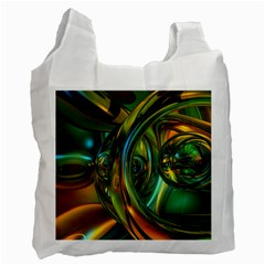 3d Transparent Glass Shapes Mixture Of Dark Yellow Green Glass Mixture Artistic Glassworks Recycle Bag (two Side)