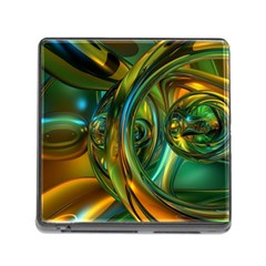 3d Transparent Glass Shapes Mixture Of Dark Yellow Green Glass Mixture Artistic Glassworks Memory Card Reader (square)