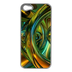 3d Transparent Glass Shapes Mixture Of Dark Yellow Green Glass Mixture Artistic Glassworks Apple Iphone 5 Case (silver)
