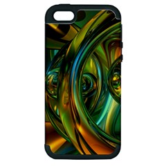 3d Transparent Glass Shapes Mixture Of Dark Yellow Green Glass Mixture Artistic Glassworks Apple Iphone 5 Hardshell Case (pc+silicone)