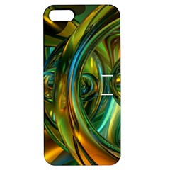 3d Transparent Glass Shapes Mixture Of Dark Yellow Green Glass Mixture Artistic Glassworks Apple Iphone 5 Hardshell Case With Stand
