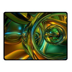 3d Transparent Glass Shapes Mixture Of Dark Yellow Green Glass Mixture Artistic Glassworks Double Sided Fleece Blanket (small)