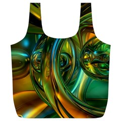 3d Transparent Glass Shapes Mixture Of Dark Yellow Green Glass Mixture Artistic Glassworks Full Print Recycle Bags (l)