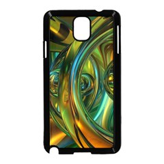 3d Transparent Glass Shapes Mixture Of Dark Yellow Green Glass Mixture Artistic Glassworks Samsung Galaxy Note 3 Neo Hardshell Case (black)