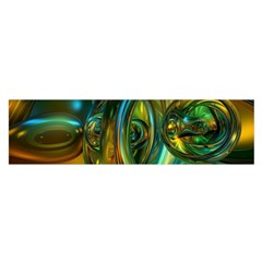 3d Transparent Glass Shapes Mixture Of Dark Yellow Green Glass Mixture Artistic Glassworks Satin Scarf (Oblong)