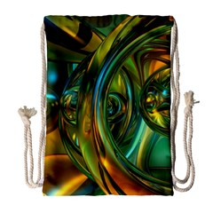 3d Transparent Glass Shapes Mixture Of Dark Yellow Green Glass Mixture Artistic Glassworks Drawstring Bag (Large)