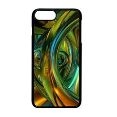 3d Transparent Glass Shapes Mixture Of Dark Yellow Green Glass Mixture Artistic Glassworks Apple iPhone 7 Plus Seamless Case (Black)