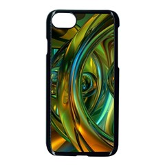 3d Transparent Glass Shapes Mixture Of Dark Yellow Green Glass Mixture Artistic Glassworks Apple iPhone 7 Seamless Case (Black)