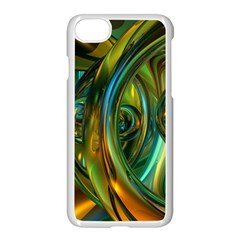 3d Transparent Glass Shapes Mixture Of Dark Yellow Green Glass Mixture Artistic Glassworks Apple iPhone 7 Seamless Case (White)