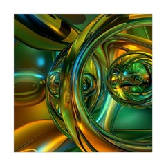 3d Transparent Glass Shapes Mixture Of Dark Yellow Green Glass Mixture Artistic Glassworks Square Tapestry (Large)