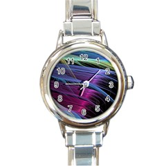 Abstract Satin Round Italian Charm Watch