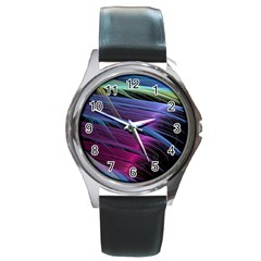 Abstract Satin Round Metal Watch