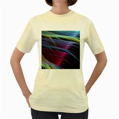 Abstract Satin Women s Yellow T-Shirt