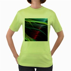 Abstract Satin Women s Green T-Shirt