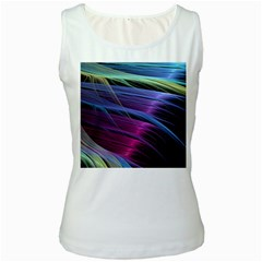 Abstract Satin Women s White Tank Top