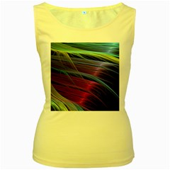 Abstract Satin Women s Yellow Tank Top