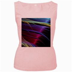 Abstract Satin Women s Pink Tank Top