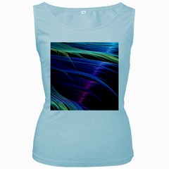 Abstract Satin Women s Baby Blue Tank Top