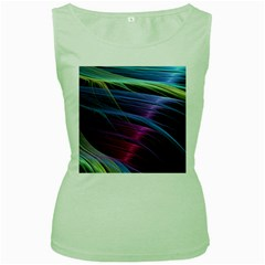 Abstract Satin Women s Green Tank Top