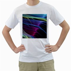 Abstract Satin Men s T-Shirt (White) (Two Sided)
