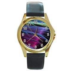 Abstract Satin Round Gold Metal Watch