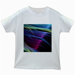 Abstract Satin Kids White T-Shirts