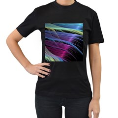 Abstract Satin Women s T Shirt (black) (two Sided)