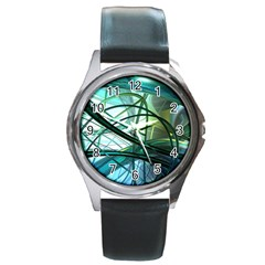 Abstract Round Metal Watch