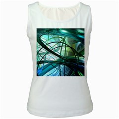 Abstract Women s White Tank Top